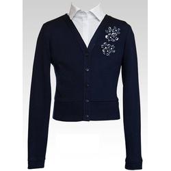 Granatowy sweterek z kwiatuszkami - SLY