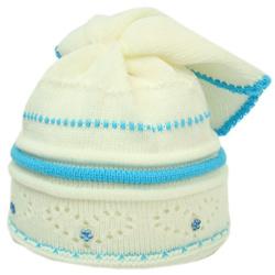Czapeczka dla dzieci Zuzka biało-turkusowa