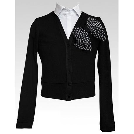 Czarny sweterek z kokarką w kropki - SLY