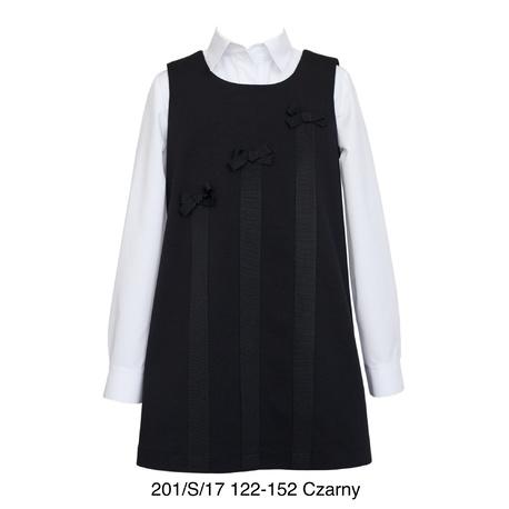 Czarna sukienka dla dziewczynki z kokardkami