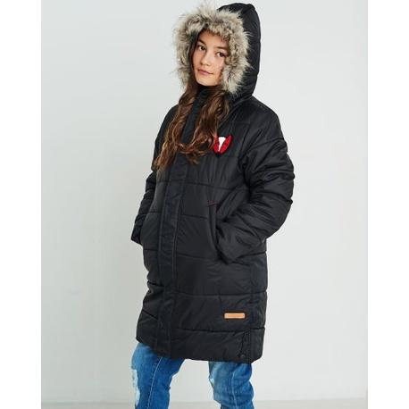 Czarna kurtka zimowa dla dziewczynki NATIVO
