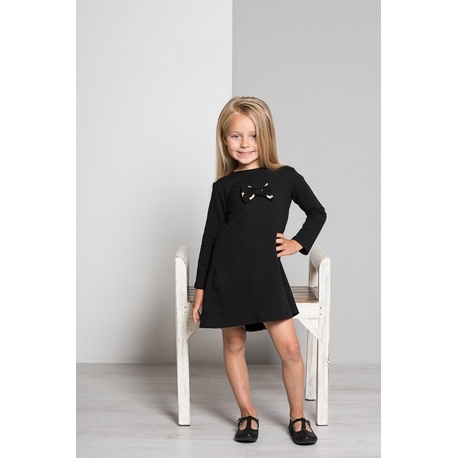 Sukienka z kokardką czarny - LUMIDE