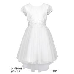 Biała Sukienka 24A/SM/18 na komunię,rozmiary 128-158,sklep internetowy
