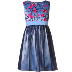 Sukienka z haftowanymi różowymi kwiatkami,EMMA, sukienka po komunii