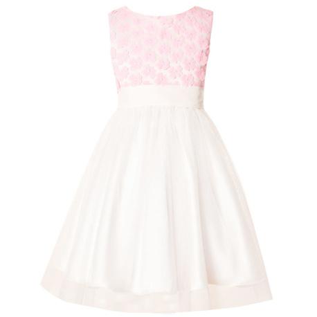 Sukienka dla dziewczynki,ecru, z różowymi kwiatuszkami, sklep internetowy