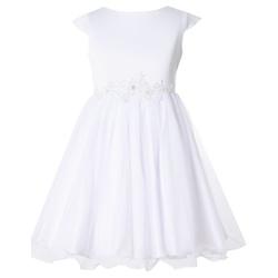 Biała sukieneczka z cyrkoniami i perełkami EMMA, pokomunijna, rozkloszowana