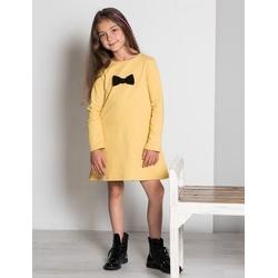 Sukienka z kokardką miodowa -LUMIDE