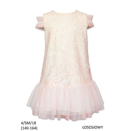 Łososiowa sukienka dla dziewczynki, pokomunijna, SLY, koronkowa