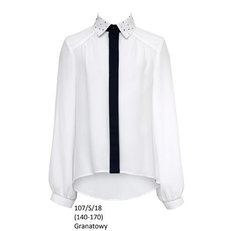 Bluzka dla dziewczynki galowa 107/S/18,biała,ubranka wizytowe,SLY