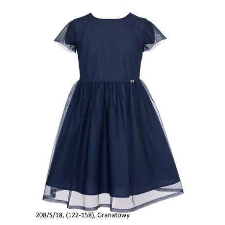 Sukienka dziewczęca szkolna,wizytowa, okolicznościowa 208/S/18,granatowa, SLY