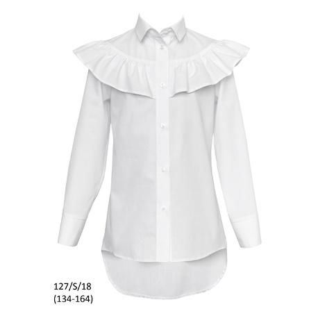 Bluzka Biała Szkolna Dziewczęca,wizytowa, galowa 127/S/18, ubranka wizytowe