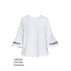 Bluzka Biała Szkolna Dziewczęca,wizytowa,elegancka 133/S/18