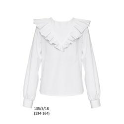 Bluzka Biała Szkolna Dziewczęca,wizytowa z falbaną 135/S/18, ubranka wizytowe