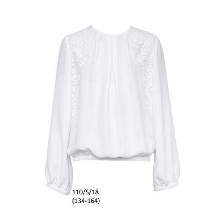 Biała bluzka galowa, dziewczęca 110/S/18, szkolna, na uroczystości, ubranka wizytowe
