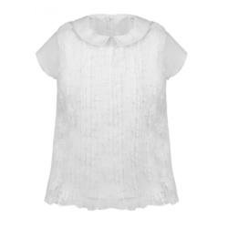 Bluzka Melisa krótki rękaw,dla dziewczynki,biała, szklona