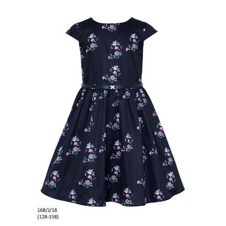 Sukienka dziewczęca 16B/J/18 okolicznościowa,wizytowa,weselna, świąteczna,SLY,granatowa