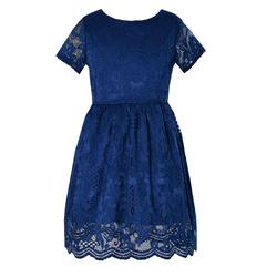Sukienka dla dziewczynki, M/223/Nicole, granatowa, wizytowa,galowa,koronkowa