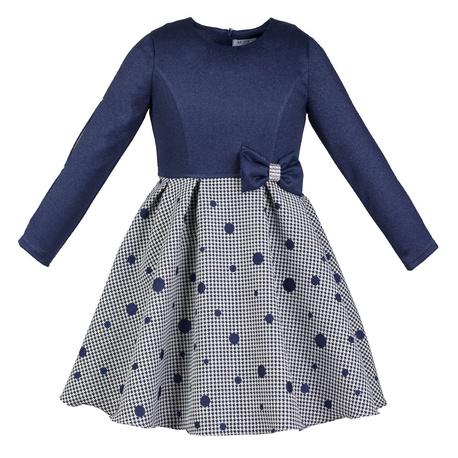 Sukienka Matylda,granatowa,błyszcząca,z rękawkiem,dla dziewczynki