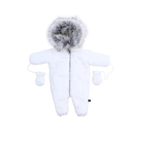 KOMBINEZON NIEMOWLĘCY BIAŁY MIŚ,dla niemowlaka,na zimę,z kapturem