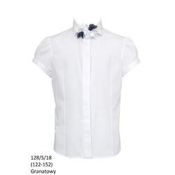 Bluzka Biała Szkolna 128/S/18 Dziewczęca,wizytowa,okolicznościowa