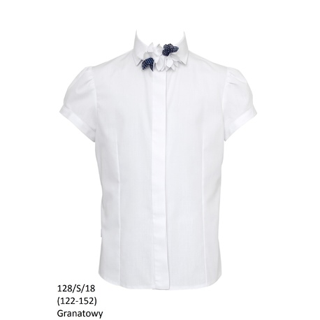 Bluzka Biała Szkolna 128/S/18 Dziewczęca,wizytowa,okolicznościowa,z krótkim rękawkiem,sklep