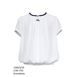 Bluzka Biała Szkolna 136B/S/18 Dziewczęca,wizytowa,okolicznościowa