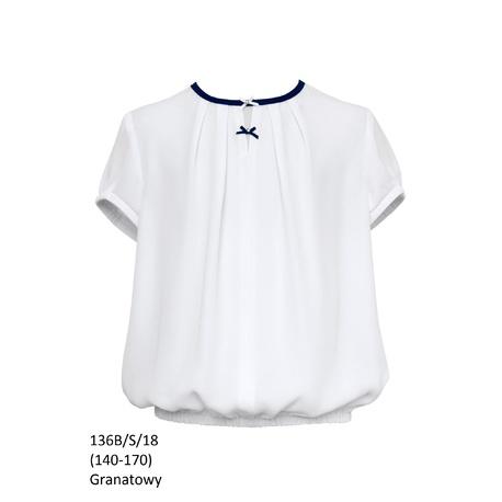 Bluzka Biała Szkolna 136B/S/18 Dziewczęca,wizytowa,okolicznościowa,dla dziewczynki,sklep