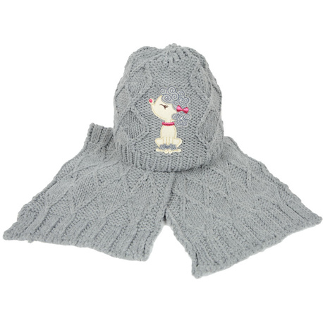 Szara czapka dla dziewczynki Pudel - RASTER