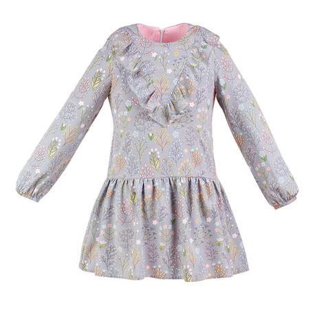 Sukienka Jaśmina, dziewczęca, z falbanką,szara,sklep
