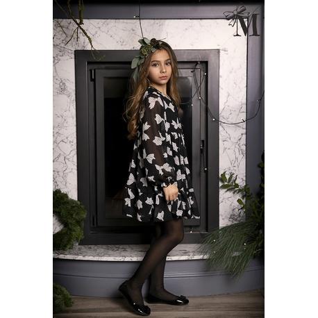 Sukienka dla dziewczynki 1712 Mała Mi, w kokardki,czarna,boho,lekka,zwiewna
