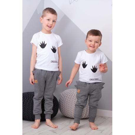 Spodnie chłopięce Crocodile szary melanż,dla chłopca,dresowe ocieplane