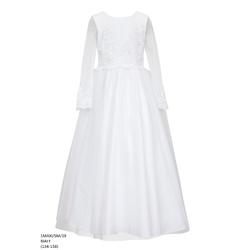 Długa sukienka dla dziewczynki biała 1 MAXI/SM/19,sukienka komunijna, elegancka,sklep dziecięcy
