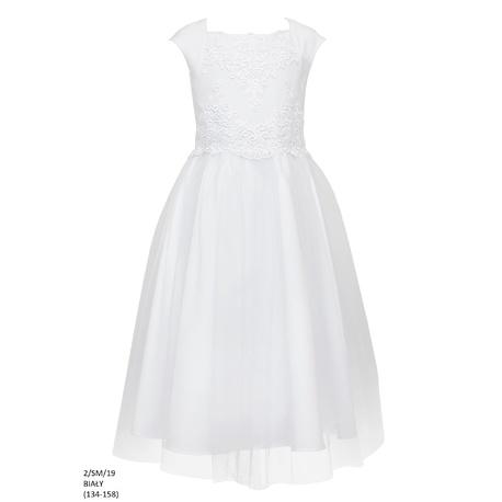 Elegancka sukienka dla dziewczynki Biała 2/SM/19,sukienki dziecięce,tiulowa,pokomunijna