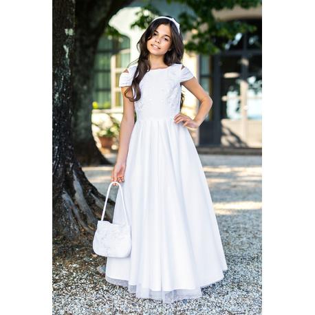 Długa sukienka dla dziewczynki Biała 3/SM/19,na komunię, sukienki dla dziewczynek wizytowe, sklep