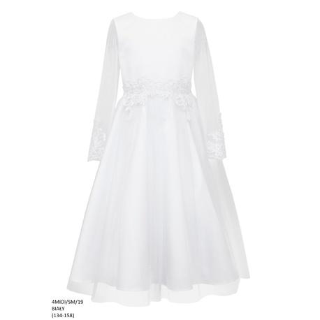Biała sukienka dla dziewczynki 4 MIDI/SM/19,sukienka tiulowa,pokomunijna,sklep