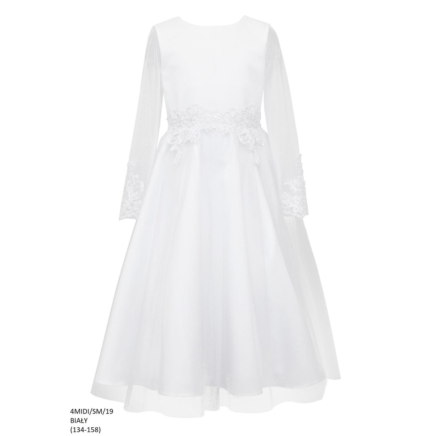 8f38698734 Biała sukienka dla dziewczynki 4 MIDI SM 19