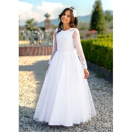 37e142d5a5 Długa sukienka dziewczęca Biała 4 MAXI SM 19