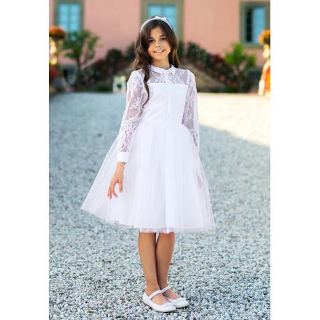 217439f926 Wizytowa sukienka dla dziewczynki Biała 5A SM 19