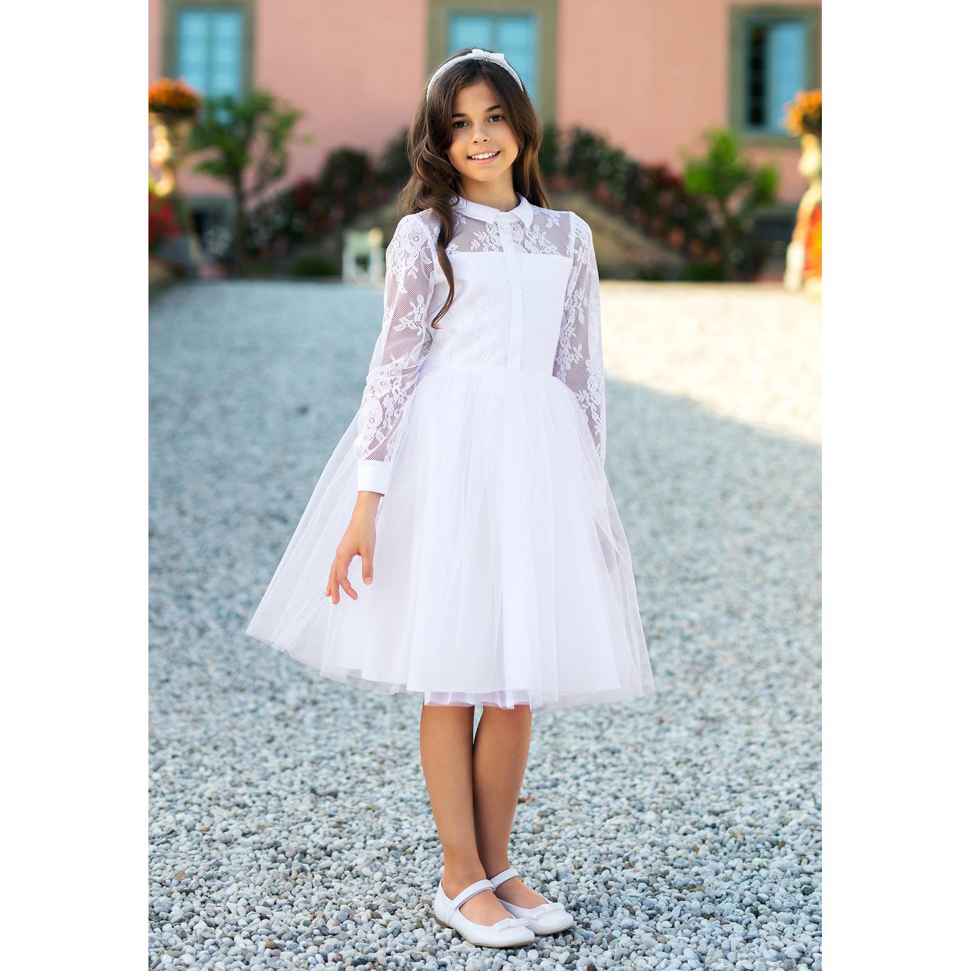215034fcfc ... Wizytowa sukienka dla dziewczynki Biała 5A SM 19