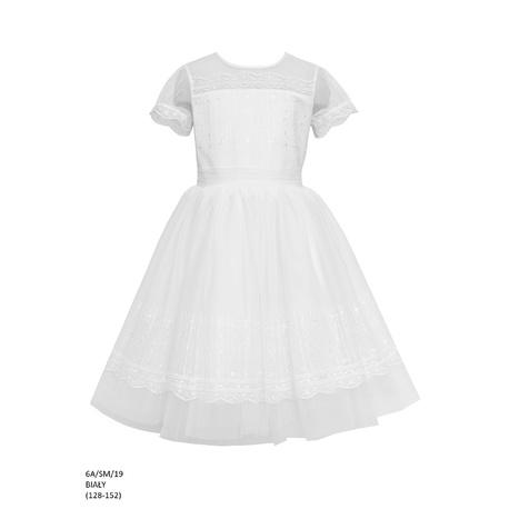 Elegancka sukienka dla dziewczynki Biała 6A/SM/19,pokomunijna, okazjonalna,modna sukienka