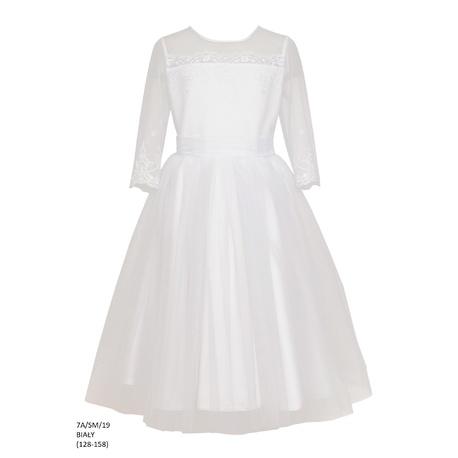 Biała sukienka dla dziewczynki 7A/SM/19,wizytowa,pokomunijna,tiulowa