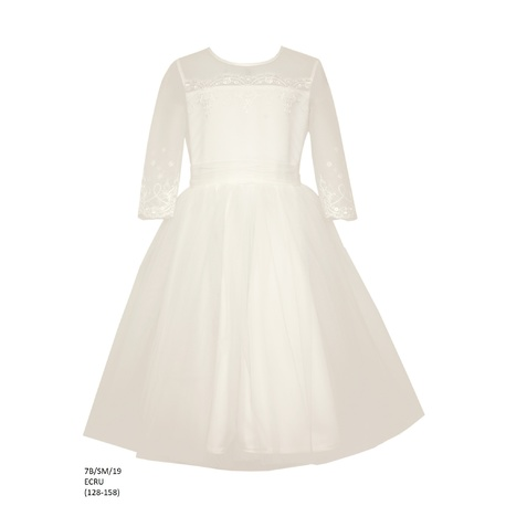 Sukienka tiulowa dla dziewczynki Ecru 7B/SM/19, pokomunijna, weselna,okazjonalna