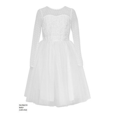 Dziewczęca sukienka Biała 9A/SM/19,wizytowa,po komunii, sklep dziecięcy częstochowa