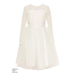 Sukienka z tiulem dla dziewczynki Ecru 9B/SM/19
