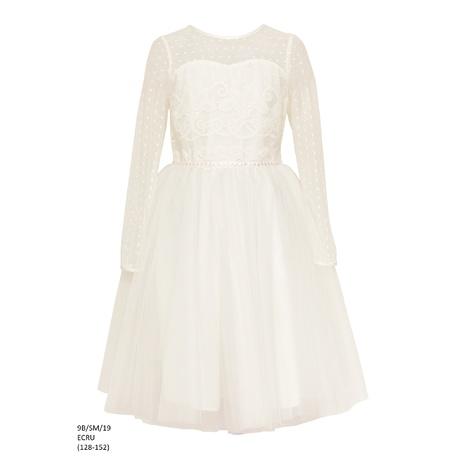 Sukienka z tiulem dla dziewczynki Ecru 9B/SM/19, po komunii, sklep dziecięcy