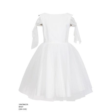 Wizytowa sukienka dla dziewczynki Biała 10A/SM/19,pokomunujna, na wesela, sklep dziecięcy