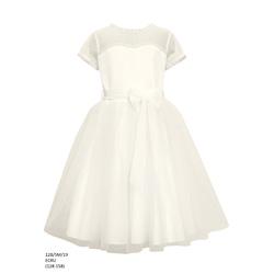Tiulowa sukienka dla dziewczynki Ecru 12B/SM/19,pokomunijna, elegancka,sklep z ubrankami dla dzieci
