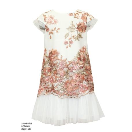 af20b7e7b1 Sukienka pokomunjna koronkowa Różowa 14A SM 19