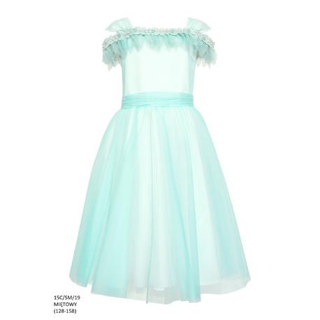 Sukienka tiulowa rozkloszowana Miętowa 15C/SM/19,sukienki dla dzieci,sklepy z odzieżą dziecięcą