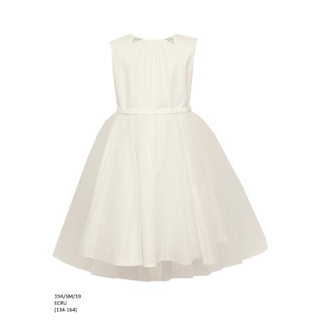 Sukienka z tiulowym dołem Ecru 19A/SM/19,na specjalne okazje,sklep z odzieżą dziecięcą